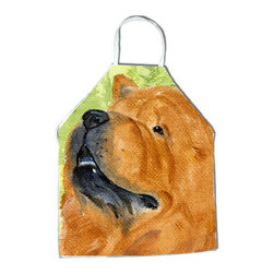 Caroline's Treasures - Chow Chow Apron SS7007APRON - Apron, Bib Style, 27 in H x 31 in W; 100 percent  Ultra Spun Poly, White, braided nylon tie straps, sewn cloth neckband. These bib style aprons are not just for cooking - they are also great for cleaning, gardening, art projects, and other activities, too!