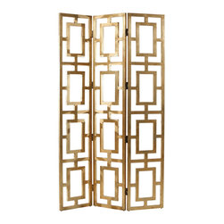 Arteriors - Arteriors Gilded Wood Open-Work Screen - The gilded finish of this open-work screen by Arteriors recalls the glitz of Hollywood Regency style. Its traditional trellis design is equally architectural and glamorous. 16''W x 84''H; Wood; Three panels