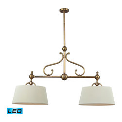 ELK Lighting - ELK Lighting 83005/2-LED Hadley 2-Light Island Lights in Brass - 2-Light Pendant with Brass and Steel and Shade. LED, 800 Lumens (1600 Lumens Total) with Full Scale Dimming Range, 60 Watt (120 Watt Total) Equivalent, 120V Replaceable LED Bulb Included