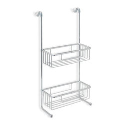 StilHaus - Over-the-Door Chrome Wire Double Shower Basket - Suspendible contemporary style double bathroom shower caddy.