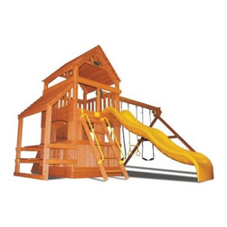 Superior Play Systems Original Fort Hangout Swing Set - You can try to explain the appeal of the Little Rascals to your kids, or you can just give them the chance to have their own adventures in the Superior Play Systems Original Fort Hangout Swing Set. This roomy and rugged set comes with everything except the No Gurls Allowed sign. The body is crafted from extra-large timbers of rot- and insect-resistant North American cedar that's held together with corrosion-proof hardware that's designed for outdoor use. The swing set chains are vinyl-dipped to prevent the pinching of little fingers and the wooden roof features layered slats the help shed the rain. The roomy deck offers more than 20 square feet of space and safety rails over a lower room with framed windows. A cafe table is located under the side awning so they can enjoy the afternoon juice box and graham crackers while the wide ladder with handrails lets them get back to the hard work of playing in this exciting fort. An extra-high swing bar suspends two swings and a trapeze bar. The wide, smooth slide is made of slick plastic and is ready for years of loving attention. Once you've installed this multi-feature fort, all you need is a bit of good weather and they'll be outside every time.About Kidwise ProductsThis item is made by Kidwise Outdoors, a company whose focus is safe, fun excitement for kids. Kidwise strives to promote safe play for kids of all ages through outside activities. Their line of products includes swing sets, trampolines, inflatable bouncers, bikes, sport goals and many other items to choose from. Kidwise guarantees all of their products against defects. Like Hayneedle, their goal is 100% satisfaction from customers. Their product lines focus on kid-friendly items that are fun to play with and stimulate balance and a healthy lifestyle for kids.