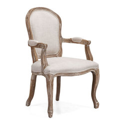 ZUO - Hyde Chair - Beige - Faintly Versailles-inspired, the Hyde Chair is a symphony of linen and oak. Features a sweeping silhouette and chunky yet elegant carving. Perfect for any modern-day Marie Antoinettes you invite for tea.