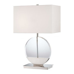 Minka George Kovacs - Minka George Kovacs Decorative Portables 2-Light Polished Nickel Table Lamp - This 2-Light Table Lamp has a Polished Nickel Finish and a White Fabric Shade.