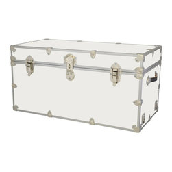 Artisans Domestic - Storage Toy Box in White (44 in. L x 24 in. W x 22 in. H (69 lbs.)) - Choose Size: 44 in. L x 24 in. W x 22 in. H (69 lbs.). Include small ventilation holes and specially designed, American made two soft-close lid supports. Retro style. Artisans domestic superior quality and heavy-duty. Handcrafted and kid friendly. Designed for a child's well-being. Lined with cabinet grade birch. Heavy gauge steel trim and corner pieces. Leather strap handles for moving easily. Hasp for padlock. Waterproof, dent and scratch resistant. Made from 1000 denier cordura sheathing, baltic birch and laminate. Made in USASafety First! yet looks handsome in any room. This treasure chest incorporates several safety features. They are even strong enough to stand on! Now that's a great toy box!