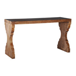 "Ambella Home - Voranado Dovetail Console Table - You can call this style ""rough luxe."" Crafted from solid white cedar, this console table features dovetail joints and interesting lines that elevate it to a must-have table for your sofa or entryway."