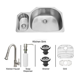 Vigo Industries - All in One 32 in. Undermount Stainless Steel Kitchen Sink, Faucet Set - Enhance the look of your kitchen with a VIGO All in One Kitchen Set featuring a 32 in. Undermount kitchen sink, faucet, soap dispenser, matching bottom grids and strainers. The VG3321R double bowl sink is manufactured with 18 gauge premium 304 Series stainless steel construction with commercial grade premium satin finish. Fully undercoated and padded with a unique multi layer sound eliminating technology, which also prevents condensation. All VIGO kitchen sinks are warranted against rust. Required interior cabinet space: 34 in. Kitchen sink is cUPC and NSF-61 certified by IAPMO. All mounting hardware and cutout template provided for 1/8 in. reveal or flush installation. The VG02002ST kitchen faucet features a dual function Pull-Out spray head for aerated flow or powerful spray, and is made of solid brass with a stainless steel finish. Includes a spray face that resists mineral buildup and is easy-to-clean. High-Quality ceramic disc cartridge. Retractable 360-Degree swivel spout expandable up to 30 in. Single lever water and temperature control. All mounting hardware and hot/cold waterlines are included. Water pressure tested for industry standard, 2. 2 GPM Flow Rate. Standard US plumbing 3/8 in. connections. Faucet height: 15 1/8 in. Spout reach: 8 3/4 in. Kitchen faucet is cUPC, NSF-61, and AB1953 certified by IAPMO. Faucet is ADA Compliant. 2-hole installation with soap dispenser. VGSD001ST Soap dispenser is solid brass with a stainless steel finish and fits 1 1/2 in. opening with a 3 1/2 in. spout projection. Matching bottom grids are Chrome-Plated stainless steel with vinyl feet and protective bumpers. Sink strainers are made of durable solid brass in chrome finish. All VIGO kitchen sinks and faucets have a Limited Lifetime Warranty.