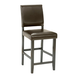 Hillsdale Furniture - Hillsdale Arcadia Non-Swivel Parson Counter Stool (Set of 2) in Espresso - A deep espresso finish, transitional design and fabulous function make Hillsdale Furniture's Arcadia gathering table a perfect fit into your kitchen. Complete with an extra storage shelf underneath, this ensemble boasts versatile espresso faux leather parson stools with a sophisticated square tapered leg. Composed of hardwoods, climate controlled wood composites and veneers.