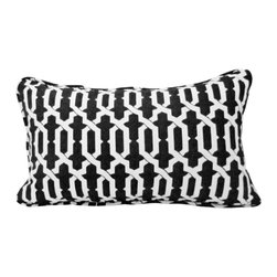 Drea' Custom Designs - Izzy Black and White Throw Pillow - Complement your modern decor with this black and white throw pillow made from pure cotton designer fabric. Geometric shapes interlock to create a dizzying pattern on the elongated body, and the pattern continues along the neatly corded edge. An invisible zipper closure means you don't have to sweat bullets trying to keep it pristine — just remove the cover and dry clean.