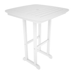 POLYWOOD - POLYWOOD Nautical 31 in. Counter Height Recycled Plastic Table - NCRT31BL - Shop for Tables from Hayneedle.com! All you need to host the perfect outdoor cocktail hour: a few friends a pitcher of freshly shaken martinis and the Polywood Nautical 31 in. Counter Height Recycled Plastic Table. Crafted with easy-to-clean eco-friendly recycled plastic that won't rot or fade this counter-height square table boasts rounded corners tall legs and a paneled top. It's available in black gray green mahogany sand teak and white. About Poly-WoodThe advantages of Poly-Wood Recycled Plastic are hard to ignore. Poly-Wood absorbs no moisture and will NOT rot warp crack splinter or support bacterial growth. Poly-Wood is also compounded with permanent UV-stabilized colors which eliminates the need for painting staining waterproofing stripping and resurfacing. This material is impervious to many substances including salt water gasoline paint stains and mineral spirits. In addition every Poly-Wood product comes with stainless steel hardware. Poly-Wood is extremely easy to clean and maintain. Simple soap and water is all you need to get rid of dirt and make your furniture look new again. For extreme cleaning needs you can use a 1/3 bleach and water solution. Most Poly-Wood furnishings are available in a variety of classic colors which allow you to choose your favorite or coordinate with the furniture you already have. This is sure to be a piece that you will be proud to own for a lifetime.