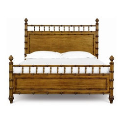 Magnussen - Palm Bay Panel Bed - The comfort and relaxed style of the Palm Bay bedroom collection exudes one of comfort and casual elegance with its Caribbean style elements, crafted of primavera veneers, its sun-drenched toffee finish is warm and inviting. The beautiful look of Bamboo, accents the cases and bed and pineapple finals accentuate bed posts. These elements combined with a textured gun metal hardware complete this island look. Features: -Palm Bay collection. -Toffee finish. -Primavera veneers and hardwood solids construction. -Gun metal hardware. -Lifestyle: Global vistas. -Caribbean style. About Magnussen Home Furniture: Magnussen Home understands that details like intricately carved woodwork or ironwork do more than complete the look of a piece of furniture; they set the tone of your home. Magnussen Home Furniture does more than fill a home. It expresses who you are. That is why these fine products are sourced from only the most prestigious home furnishings manufacturers, many in the Far East and Central America, and distributed to top furniture retailers and other dealers in the United States and Canada. Magnussen's valued partners share our dedication to the highest level of customer service and quality. Magnussen Home Furniture offers fine furniture, designed and created by a family of craftsmen from around the world, to fill the most important rooms in your home. An unwavering commitment to ensuring your satisfaction is Magnussen's most important characteristic.