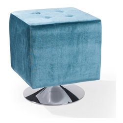 Armen Living - Pica Square Ottoman, Blue - Unmistakably posh button-tufting detail enhances the distinguished silhouette of this updated classic.