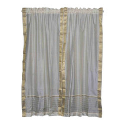 Indian Selections - Pair of Cream Rod Pocket Sheer Sari Curtains, 43 X 108 In. - Size of each curtain: 43 Inches wide X 108 Inches drop