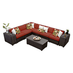 TKC - Rustico 9 Piece Outdoor Wicker Patio Furniture Set 09a 2 for 1 Cover Set - Features: