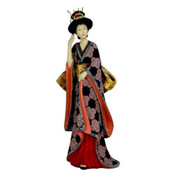 "Oriental Furniture - 14"" Geisha Figurine w/ Ivory Flower Sash - A wonderful, colorful reproduction of a carved Japanese Geisha statue, with the classic ""shimada"" hair style, exotic hair pins, and comb. Her kimono is a beautifully rendered hand painted black and lavender pattern, with a lovely contrasting lining and floral sash. Geisha statues were carved from wood, fish bone, or ivory, some elaborately painted and inscribed. This reproduction solid resin designs capture much of the same refined, elegant detail, a striking decorative accent for home or office. Remarkably affordable, they're stunning displayed in pairs; and consider another for the discerning lady on your gift list."