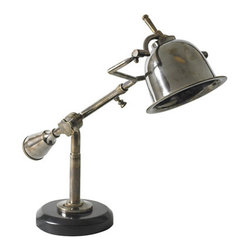 """Author's Desk Lamp - The author's desk lamp measures 7.1 x 22.6 x 16.1"""". The many subtle details of this classic, 1920s French lamp easily impress. Yet in construction nothing was done easily. Every facet is well executed and perfect. An intriguing, solid counterweight balances the compact, bell-like shade. A mix of Bauhaus and French Deco! Easily invokes the spirit of Baudelaire and Proust..."""