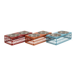 Benzara - Stylish and Simple Inspired Style Metal Pet Feeder 3 Assorted Home Decor - Description: