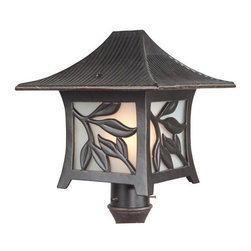 Exteriors - Exteriors Mandalay Traditional Outdoor Post Lantern Light X-36-5607Z - From the Mandalay Collection, this Craftmade outdoor post lantern light features a charming blend of Oriental influences and traditional style. Each of the four windows features a beautiful leaf motif and the overhanging roof comes with its own texturing for added appeal. The frosted glass panels accentuate these details while a rich Antique Bronze finish adds to the appeal.