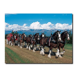 Trademark Global - Clydesdales in Blue Sky Mountains Canvas Art - Choose Size: 14 x 19 in.Gallery wrapped giclee on canvas. Ready to hang. 2 in. thickness. Contemporary style. Subject: Photography. Format: Vertical. No assembly required. Small: 14 in. W x 19 in. H (3 lbs.). Medium: 18 in. W x 24 in. H (4 lbs.). Large: 18 in. W x 24 in. H (6 lbs.)Giclee (jee-clay) is an advanced printmaking process for creating high quality fine art reproductions. The attainable excellence that Giclee printmaking affords makes the reproduction virtually indistinguishable from the original artwork. The result is wide acceptance of Giclees by galleries, museums and private collectors. Gallery wrap is a method of stretching an artist's canvas so that the canvas wraps around the sides and is secured to the back of the wooden frame. This method of stretching and preparing a canvas allows for a frameless presentation of the finished painting.