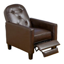 Great Deal Furniture - Miller Brown Leather Recliner - Relax in your very own recliner club chair upholstered with soft and cozy bonded leather. Enjoy the dual-function that features both a foot extension as well as a reclining back. Chair is great for small spaces creating a great place to take a nap or watch TV.