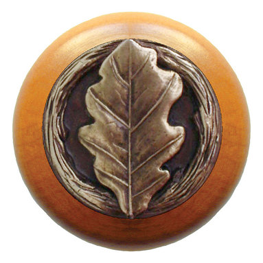 """Notting Hill - Notting Hill Oak Leaf/Maple Wood Knob - Antique Brass - Notting Hill Decorative Hardware creates distinctive, high-end decorative cabinet hardware. Our cabinet knobs and handles are hand-cast of solid fine pewter and bronze with a variety of finishes. Notting Hill's decorative kitchen hardware features classic designs with exceptional detail and craftsmanship. Our collections offer decorative knobs, pulls, bin pulls, hinge plates, cabinet backplates, and appliance pulls. Dimensions: 1-1/2"""" diameter"""
