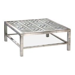"Inviting Home - Coffee Table in Antique Silver - antiqued silver coffee table with glass top and open work design 42""W x 42""D x 18""H Square wood coffee table with antique silver leaf finish. This coffee table has open work design glass top and clear glass shelf."
