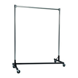 Z Racks - Heavy Duty Z-Rack 5 ft. Single Rail Garment R - Base Color: Black. 500lb capacity. 14 gauge, 60 in. Long steel base (Environmentally safe powder coated finish ). 16 gauge, 60 in. upright bars and hang rail. 1 5/16 outside diameter upright bars and hang rail. Grey non-marking soft rubber with TP center 4 in. casters. Made in the USA. 63 in. L x 23 in. W x 67 in. HIf you don�۪t know what five feet of upright storage combined with five feet of length can do, you�۪ve got to try this Z-Rack. With perfect proportions and a variety of colors to choose from, this Z-Rack rack can solve a variety of storage problems, such as office organization and apparel needs.