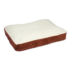 Buster Dog Bed - Your pooch will stay warm and cozy when lounging on Buster Dog Bed. The removable machine-washable cover complete with hidden zipper is made from plush Sherpa and heavy-duty microfiber. Filled with 100% post-consumer recycled plastic poly-fiber fill for maximum comfort and eco-friendliness. Double-sewn boxed edges are finished with decorative cording preventing chewing or destruction. The structured silhouette provides a formal twist to the traditional pillow-style design.Choose from the following sizes:Extra Small dimensions: 24L x 18W x 5H inchesSmall dimensions: 36L x 24W x 5H inchesMedium dimensions: 42L x 30W x 6H inchesLarge dimensions: 48L x 36W x 6H inches