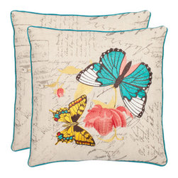 Safavieh Home Furniture - Dan 18-Inch Multi Color/Cream Decorative Pillows, Set of 2 - -The Lepidoptera order is explored with gold and teal blue species rendered in satin embroidery on a ground of cream-colored linen and cotton blend fabric.  This richly detailed pillow is finished with teal satin piping.  - Please note this item has a 30-day manufacturer's limited warranty that covers product defects. Inspect your purchase upon delivery and notify us immediately with any concerns. Safavieh Home Furniture - PIL811A-1818-SET2