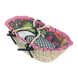 Hoohobbers - Hoohobbers Sleek Slate Doll Moses Basket - 315-94 - Shop for Moses Baskets from Hayneedle.com! Enjoy years of enjoyment with the quality craftsmanship of the Hoohobbers Sleek Slate Doll Moses Basket. This beautiful basket is hand made from a natural woven rattan material and features a Moses basket design with sturdy carry handles and soft padded flannel fabrics with complementary colors and patterns. Interior bumpers feature exquisite details while the included flannel receiving blanket provides just the right touch. Its unique duvet style bumpers open for easy machine-washing allowing them to retain their crisp original shape after laundering. Other details include fancy double ruffles and handle ties as well as detailed piping. About HoohobbersBased in Chicago Hoohobbers has designed and manufactured its own line of products since 1981 beginning with the now-classic junior director's chair. Hoohobbers makes both hard goods (furniture) and soft goods. Hoohobbers' hard goods are not your typical furniture products; they fold are lightweight and portable and are made to be carried by children all around the house. Even outdoors Hoohobbers' hard goods are 100 percent water-safe. At the same time they are plenty durable and can take the abuse children often give. Hoohobbers' soft goods are fabric items ranging from bibs to bedding from art smocks to Moses baskets. Hoohobbers' products are recognized by independent third parties for their quality and performance. Hoohobbers has received Best Design Awards from America's Juvenile Products Association each time selected from more than 20 000 products. Hoohobbers has also received the Parents' Choice Award and no Hoohobbers product has ever been subject to consumer recall. Furthermore the company's products are often featured in leading women's and children's publications.