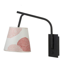 Lights Up! - Walker Swing Arm Sconce - Red/Orange Mumm - For clever lighting that really swings, mount this sconce, designed by Rachel Simon, in your favorite setting. It comes in your choice of solid or prettily patterned shades, and lets you move illumination where you want it.