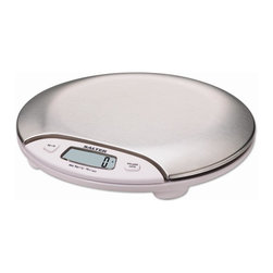 Salter - Electronic Kitchen Scale in White - 19V battery is included. Weigh directly on hygienic stainless steel platform or use a bowl. Automatically adjust for use with most bowls or containers. Easy to read 0.4 in. (10 mm.) LCD digits. Designed for easy use and easy clean-up. Stainless steel platform gives this electronic scale a clean look that will add class to any kitchen design. Can measure in standard and metric and is designed with an auto zeroing feature. Metric/imperial conversion button. Modern in design and advanced technology, but classic in quality and workmanship. No assembly required. 10 Year manufacturer's warranty. 8.75 in. L x 2.25 in. W x 8.75 in. H