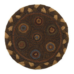Homespice Decor - Homespice Decor In Circles 15 in. Round Chair Pad - 211200 - Shop for Cushions and Pads from Hayneedle.com! Put a touch of hand-hooked primitive style under your guests with the Homespice Decor In Circles 15 in Round Chair Pad. Wedgewood olive camel and browns combine within a braided border for easy coordination in a variety of spaces. About Homespice DecorProducing quality homemade products since 1998 Homespice Decor has become an industry leader in braided rugs (outdoor indoor wool cotton) and has expanded its line to include penny rugs rag rugs and its newest - Supernova rugs - which feature a swirling star braid design. Formerly known as J Quilts Company Homespice Decor shifted its focus from quilts to rugs pouring itself into the intricate details of braided rug craftsmanship. Homespice Decor is committed to providing affordable braided rugs of the highest quality in an abundance of sizes and styles.