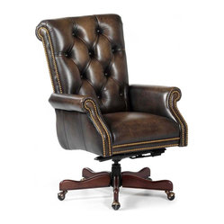 Randall Allan - Kramer Swivel Tilt - Lean back, swivel and count your millions. This adjustable desk chair is like money in the bank with a rolled, button-tufted back and arms upholstered in java-colored leather. It sits on five sturdy feet with casters so your latest financial statements won't knock you off your feet.