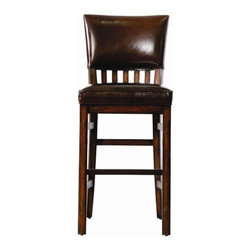 Stanley - Modern Craftsman Morris School Bar Stool in Tobacco - The time has come when less really does mean more. When quality surpasses quantity. When simplifying brings you a sense of unparalleled satisfaction. These are the impetuses behind Modern Craftsman. Imagine rejecting all that is artificial and embracing something that is real and tangible, something that traces its inspiration back to some of our greatest artisans. Modern Craftsman takes the best design elements from mission, arts and crafts, mid-century modern, and the Pasadena school and creates something that is both of the moment and timeless. Rooted in the idea that the new American lifestyle is one that harkens back to the true and honest, without hype or spin, Modern Craftsman lets its identity and soul shine through. From exposed joinery and stretcher motifs to industrial hardware, these pieces aren't afraid to showcase the structural details that set them apart. Not only does Modern Craftsman present distinctive design motifs, the collection offers you a wealth of finish options making it easy to introduce them into your home's decor. Whether you opt for the richness of an almost transparent, misty Mink with charcoal highlights or the casual, relaxed appeal of the Saddle finish, versatility is yours. Select designs are available with with a hand-runned and skived Tobacco finish or a lighter toned, hand-rubbed Driftwood, testaments to the dedication and craftsmanship found in every selection. While Modern Craftsman pays homage to its origins, it isn't afraid to impact the practicality of today. Finished in an oil-rubbed bronze, the hardware - simple pull bars and complimentary knobs all softly shaped for comfort - is a testament to the functionality of the collection. Style is about being true to yourself and embracing the artistry behind a design. Modern Craftsman offers the poise that comes with integrity, as well as the assurance that beauty is attainable. Time to peel away the layers that ha