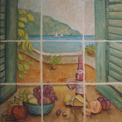 Open Window View - Hand painted stone mural of a scene looking out a window at a lake with sail boats. 1 Square foot in size.
