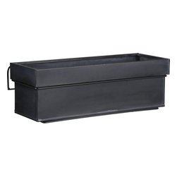Zinc Rectangular Planter with Rail Hook Set - Crate & Barrel has a really nice collection of planters this year, including these window boxes for balconies.