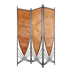 Oriental Unlimted - 6 ft. Tall Tropical Philippine Privacy Screen - Honey colored rattan featuring a decorative peak forms the screens of this black iron framed three panel room divider. Black lines curve inside the panels as well, giving this piece an airy feel. This versatile piece can be turned upside down to change the look. This unique tropical Philippine room divider will bring a tropical atmosphere to your home or office. Its art deco free flowing design is extremely versatile. Can be flipped upside down for a whole new look. Imported directly from Southeast Asia. Shade is hand woven honey rattan. Frame is crafted in black metal with gold accents. Assembly required. Approximately 71 in. H x 53 in. W (29 lbs.)