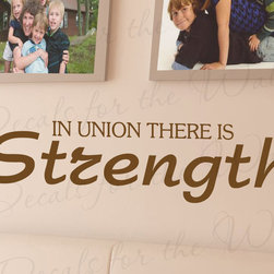 Decals for the Wall - Wall Decal Sticker Quote Vinyl Art Lettering Letter Find Strength in Union I57 - This decal says ''In union there is strength''