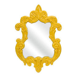iMax - iMax Finely Yellow Baroque Framed Wall Mirror X-18374 - In a canary yellow baroque style frame, the Finely wall mirror adds a vintage style to any space.