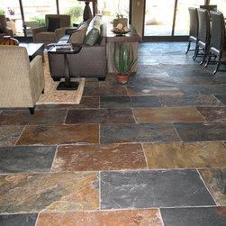 Slate Floor - Black & Gold 12 x 24 Straight Cut Slate used on a great room floor