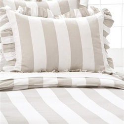 Pine Cone Hill Monique Stripe Platinum Duvet Cover - A perfect stripe is essential when mixing and matching bedding. Try this duvet with a tiny-print sheet and monogrammed shams.