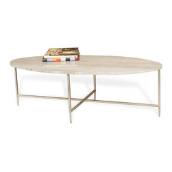 Interlude - Ashlyn Cocktail Table - Grey - No need to lose your marbles trying to find the perfect coffee table. With a smooth, oval marble top and perfectly paired chrome finished iron legs, this coffee table is not too wide, allowing you more versatility in finding a place for it.