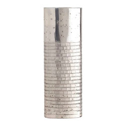 Walsh Short Brick Etched Oval Glass Vase - The Walsh Short Brick Vase is lustrously reflective with the beauty of antiqued silver mercury glass, while its lower walls are etched with that most traditional of architectural motifs, a pattern of neatly laid bricks.  These aspects provide a breathtaking combination when the vase is empty and elevate seasonal contents to a new height of glamor.  Create an abstract cityscape by matching this transitional vase with its taller twin or use the cylindrical stunner alone.