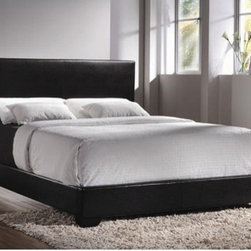 Wildon Home � - Queen Platform Bed - Add this stunning upholstered bed to your master bedroom for a one-of-a-kind contemporary style that will transform your space. This sleek bed features a high straight headboard and low profile footboard style frame, with exposed tapered feet for support. Choose from a rich black or dark brown faux leather upholstered headboard for a luxurious look that you will love. This queen upholstered bed is just the thing to complete your stylish master bedroom ensemble. Box spring required. Features: -Queen Size Upholstered Low-Profile Bed.-Faux leather upholestry.-Exposed tapered feet.-Boxspring/foundation required.-Distressed: No.Dimensions: -Overall Product Weight: 72.6 lbs.