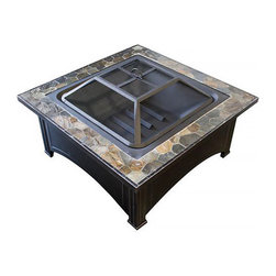 Phat Tommy - Phat Tommy Slate Top Wood Burning Fire Pit - Host backyard parties around the Phat Tommy slate top fire pit,with stylish slate accenting and a set that includes a mesh cover and fire poker.