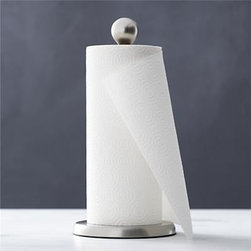 Tear Drop Paper Towel Holder - Freestanding paper towel holder features a clean, modern design in satin-finish nickel with removable ball finial.