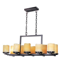 Joshua Marshal - Ten Light Rustic Ebony Stone Candle Glass Candle Chandelier - Ten Light Rustic Ebony Stone Candle Glass Candle Chandelier