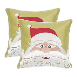 Safavieh - Decorative Santa's Cheer Pillows in Red & Green - Set Of 2 - Enliven any room with the jovial design of this set of two Santas Cheer pillows in the red and green colorway. Crafted of easy to clean polyester fabric, these playful pillows are embellished with a pom-pom on Santas cap.