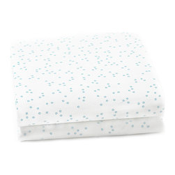 Auggie - Pebble Crib Sheet, Cornflower - The mini pebble creates the feel of hand drawn sheets while adding an unexpected whimsical touch.