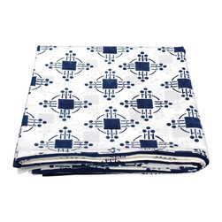 Mia + Finn - Thomas Nautical Blue Flat Sheet - You don't have to be a math whiz to appreciate the block-printed geometric patterns on this luxury flat sheet. This machine-washable sheet is sure to become your bedding favorite.